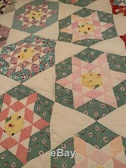 Vintage Quilt 6 Point Star Handmade Feedsack 70 x 78 hand stitched