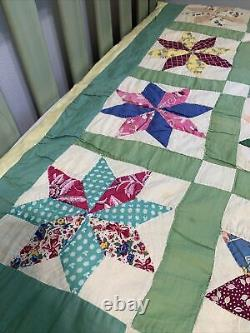 Vintage Quilt 8 Pt Star Hand Quilted 67x81 Yellow Back Great Old Fabric