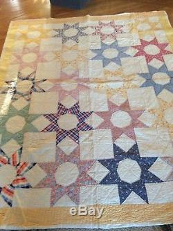 Vintage Quilt All Hand Made & Quilted 64 x 80 Twin Size Star Pattern