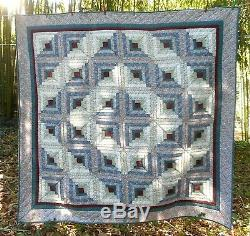 Vintage Quilt Blanket Hand-Quilted Handmade Calico Cotton Full-size 80X80