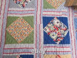Vintage Quilt Diamond In A Square 70 By 80 Hand Made