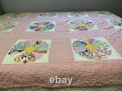 Vintage Quilt Dresden Plate 63x77 Pink Hand Quilted Great Old Fabric