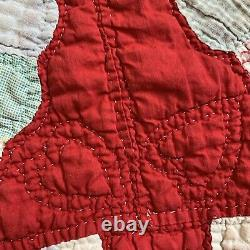 Vintage Quilt Dresden Plate Red 54x67 Hand Quilted Cutter Display