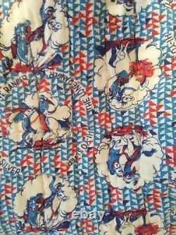 Vintage Quilt Fan Pattern 1949 Signed Blue Lone Range Hi Yo Sliver Flannel Back