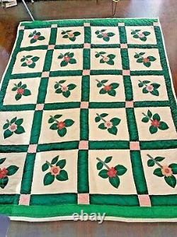 Vintage Quilt Floral Floral Flower Appliqué Patchwork Handmade 62x78