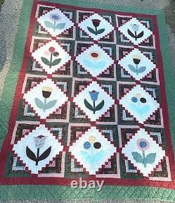 Vintage Quilt Floral Floral Flower Appliqué Patchwork Handmade 84x63