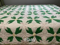 Vintage Quilt Flower Pattern Hand Quilted 73x82