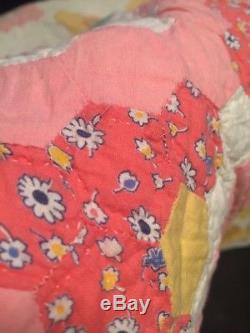 Vintage Quilt Grandmothers Flower Garden Star Of David 74 x 76 IN Handmade