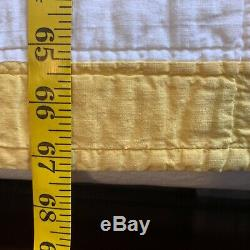 Vintage Quilt, Handmade Hand Quilted 84 x 67 Dresden Plate yellow Floral
