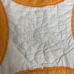 Vintage Quilt, Handmade Hand Quilted 85 x 75 Orange White Prairie Points