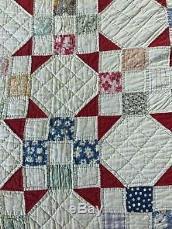 Vintage Quilt Handmade Hand Sewn 1940s 1950s