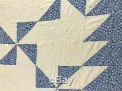 Vintage Quilt Handmade Hand Sewn Pinwheels and Flying Geese 80 X 80 Sky Blue