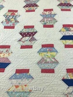 Vintage Quilt Handmade Hand Sewn Quilt Chinese Lantern Design 75 X 65