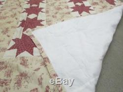 Vintage Quilt Handmade Hand Sewn Stitched Star Pioneer Red Cream 103 x 87 King
