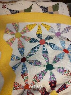 Vintage Quilt Pinwheel Hand Sewn Multi Color Large 40's Beautiful Condition