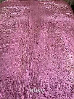 Vintage Quilt Star Feed-sack hand Stitched Restore Cutter 74x68 Pink