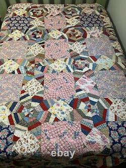 Vintage Quilt Stars Squares 72x90 Hand Quilted Feed Sack