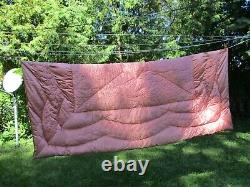 Vintage Quilted Satin Pink / Peach 75 x 62 Small Bedspread No Tag No Holes
