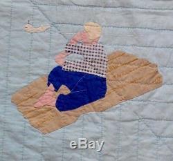 Vintage RARE Handmade Applique Story Quilt NANTUCKET Old Quilt