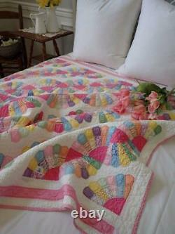 Vintage SO PRETTY In Pink Double Fan QUILT 76x62 Sweet Cottage Home