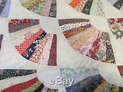 Vintage Spring Summer Weight King Size Quilt Hand Made Machine Quilted Fan