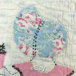 Vintage Sunbonnet Sue Baby Babies Depression Era Quilt Handmade Purple 86