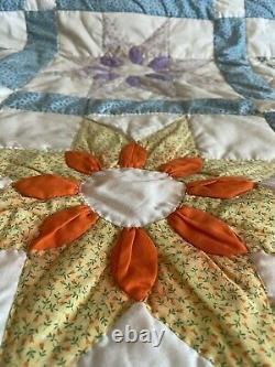 Vintage Sunflower Star Handmade Quilt