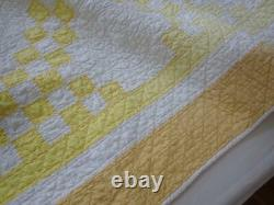 Vintage Sunshine Yellow & white Irish Chain QUILT 91x73