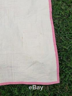 Vintage Swastika Handmade Quilt blanket 82×61 Good Luck NATIVE AMERICAN Symbol
