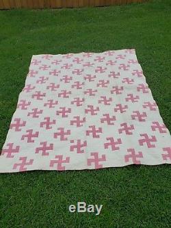 Vintage Swastika Handmade Quilt blanket 82×65 Good Luck NATIVE AMERICAN Symbol