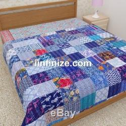 Vintage Throw Cotton Quilt Indian Handmade PatchworkBedspread Reversible Bedding