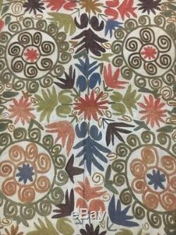 Vintage Uzbek Handmade Embroidered Suzani 118 x 67 Wall Decor Tablecloth Quilt
