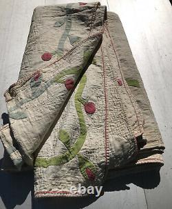 Vintage VERY Early Fabric Appliqué Hand Quilted Quilt 83 X 82 Ohio Estate