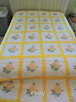 Vintage Yellow Rose Cross Stitched Quilt Handmade & Mennonite Handquilted