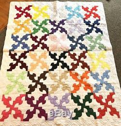 Vintage hand made Patchwork Drunkard's Path UNUSED Quilt Multi Color Solids Twin