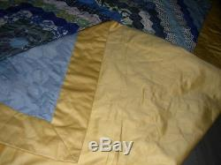 Vintage hand made hexagonal patchwork blue yellow king double quilt bedspread