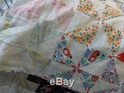 Vintage hand made quilt hand stitched and hand knotted