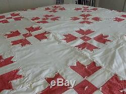 Vintage hand made red and off white quilt star pattern and hand knotted