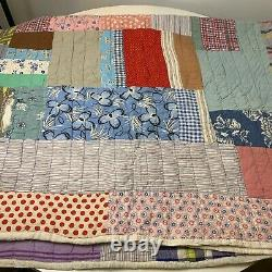 Vintage hand sewn quilt square design patches floral multi colored crazy twin