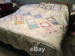 Vintage handkerchief Quilt Handmade Queen Size