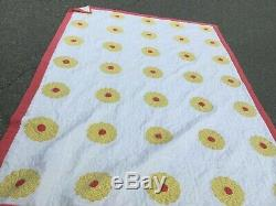 Vintage handmade Appliqué quilt in great color cream yellow and red. 70. X. 100