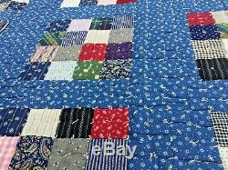 Vintage handmade heavy quilt backed with wool 56 x 70 inches