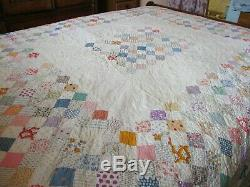 Vintage handmade quilt 68 X 72 Estate Sale find Tiny stitches, 70 years old