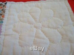 Vintage handmade quilt 84 X 62 Star 8 Point Stitching exceptional New