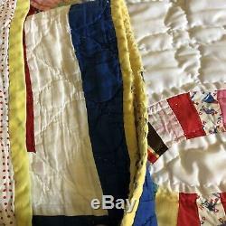 Vintage handmade quilt wedding ring pattern 82 X 84 very good vintage condition