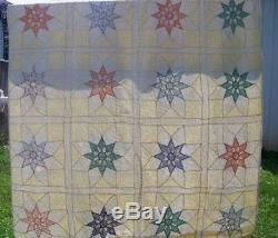 Vintage handmade quilt with stars 72 x 84