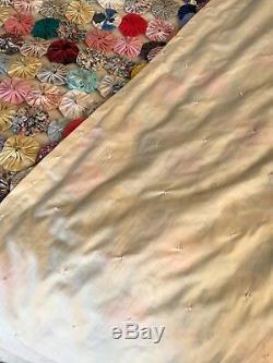 Vintage handmade yo yo suffolk puff patchwork quilt throw large