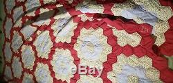 Vintage homemade Handmade king size Grandmothers hexagon Flower Garden Quilt
