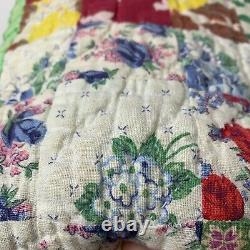 Vintage quilt coverlet handmade hand sewn blue green square patches floral twin