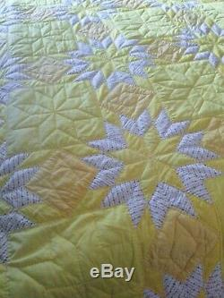 Vintage style Hand Quilted Yellow Quilt Handmade Size King